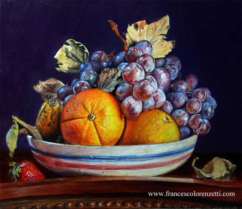 dipinto a olio natura morta_uva_arance