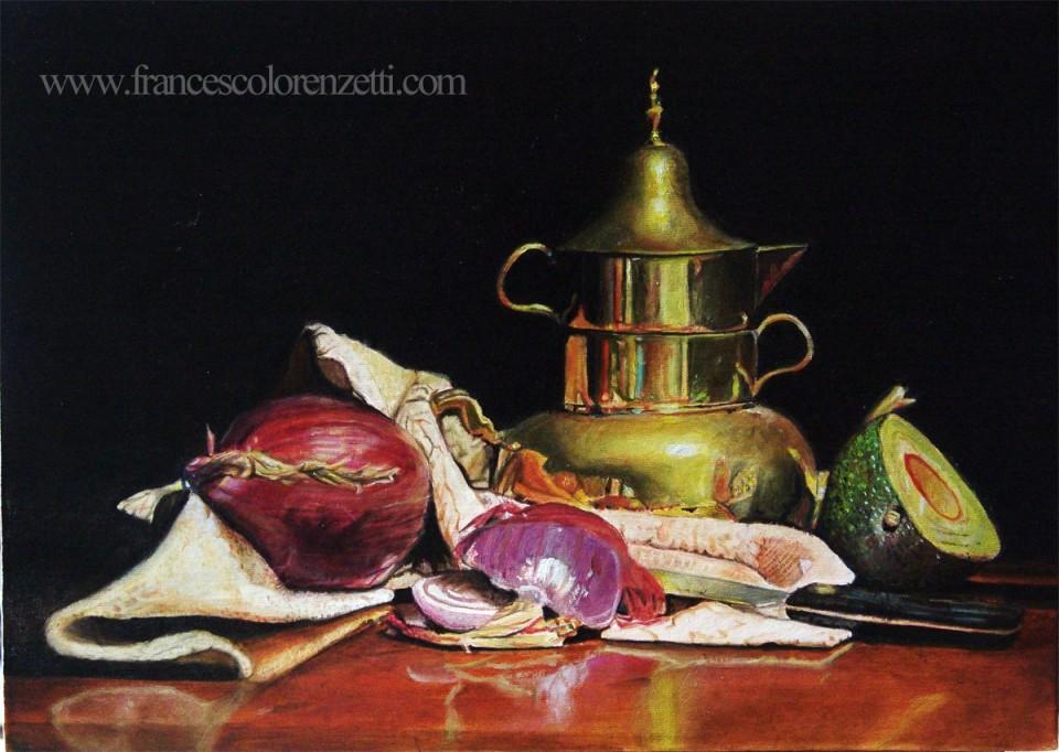 natura_morta_dipinto_a_olio_vaso_ottone_frutta_in_vendita